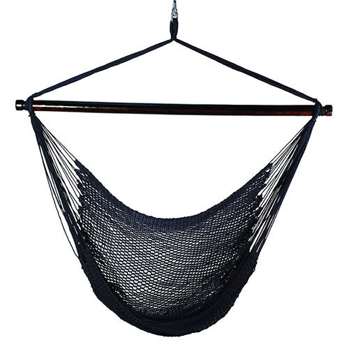 Hanging Caribbean Rope Chair Navy Blue