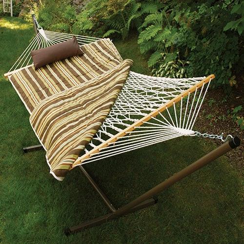 Cotton Rope Hammock w/ Stand, Pad & Pillow, Green/Tan Stripe