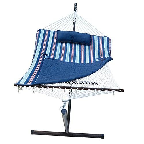 Cotton Rope Hammock w/ Stand Pad & Pillow Combo Kingston Stripe Arbor