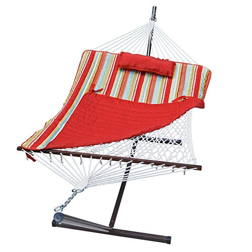 Cotton Rope Hammock w/ Stand Pad & Pillow Combo Piper Stripe/Solid