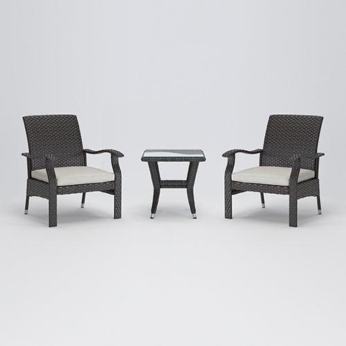 Miles Conversation 3pc Deep Seat Set Mocha Wicker