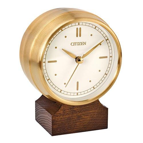 Workplace Bluetooth Speaker Gold-Tone Desk Top Clock White Dial