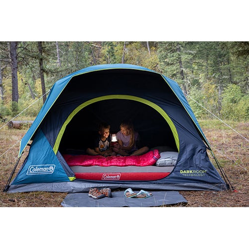 4-Person Dark Room Skydome Camping Tent Blue