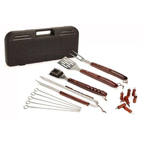 18pc Wood Handle Grill Utensil Set