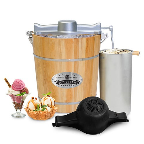 Gourmet Old Fashioned 4qt Wood Bucket Ice Cream Maker