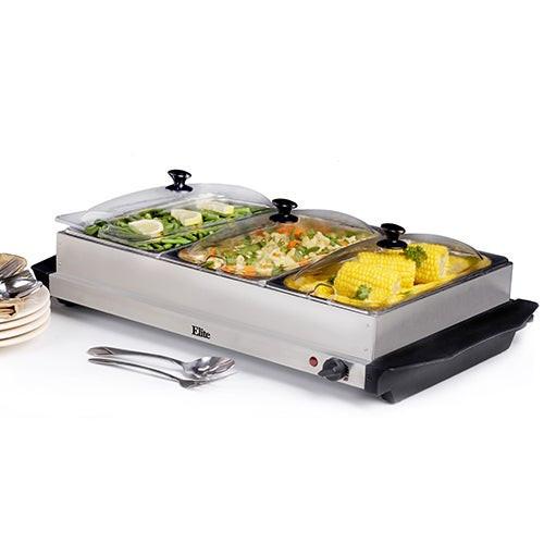 7.5qt Stainless Steel Triple Buffet Server/Warming Plate