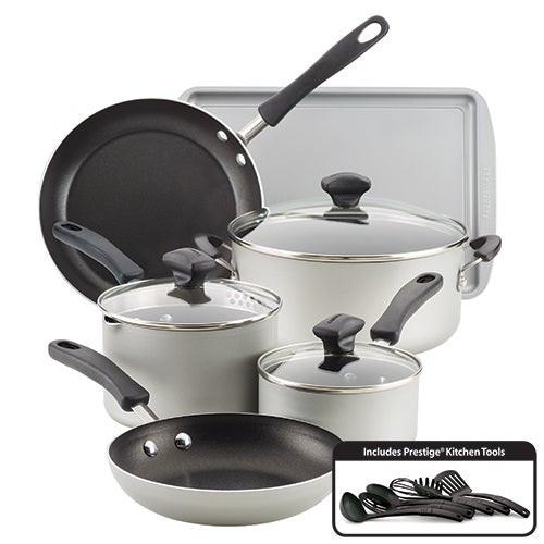 15pc Cookstart DiamondMax Nonstick Cookware Set Silver