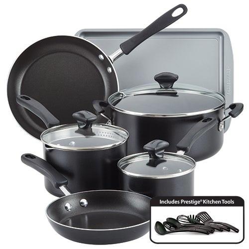 15pc Cookstart DiamondMax Nonstick Cookware Set Black