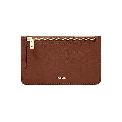 Ladies Logan Leather Zip Card Case Brown