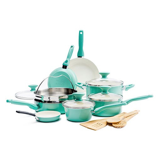 Rio 16pc Ceramic Nonstick Cookware Set Turquoise
