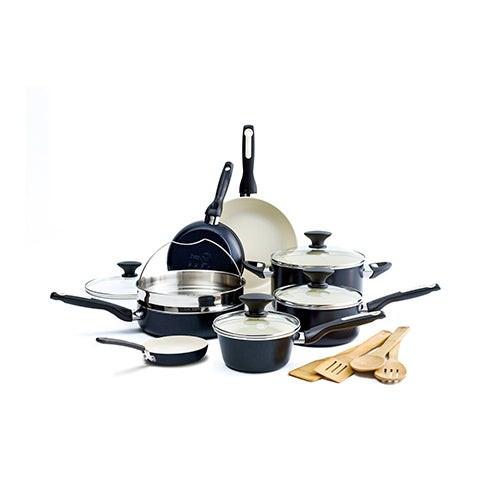 Rio 16pc Ceramic Nonstick Cookware Set Black