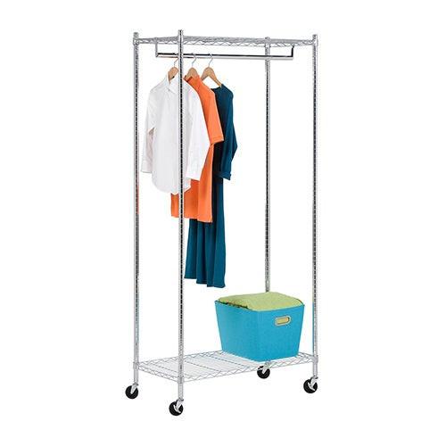 Heavy-Duty Rolling Garment Rack w/ 2 Shelves