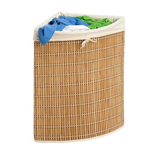 Wicker Corner Hamper w/ Laundry Bag Bamboo
