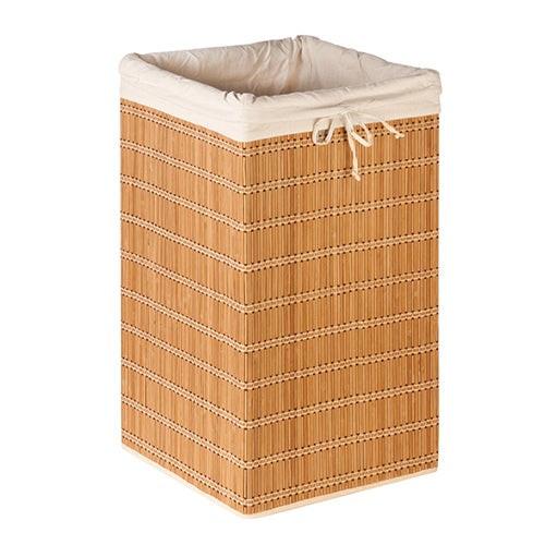 Square Bamboo Wicker Hamper w/ Canvas Bag