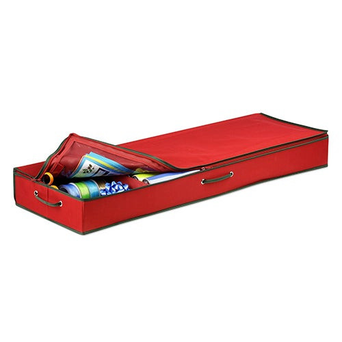 Wrapping Paper & Bow Storage Container Red