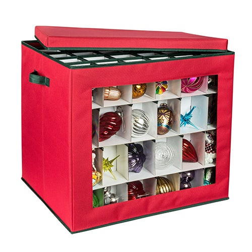 120-Cube Ornament Storage Container Red