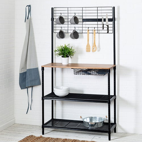 """65"""" Bakers Rack w/ Cutting Board and Hanging Storage Black"""