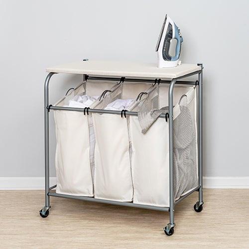 Triple Laundry Sorter w/ Ironing Board