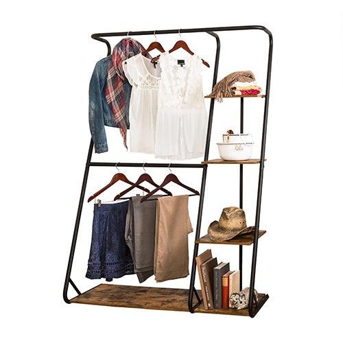 Rustic Z-Frame Open Wardrobe w/ Shelves