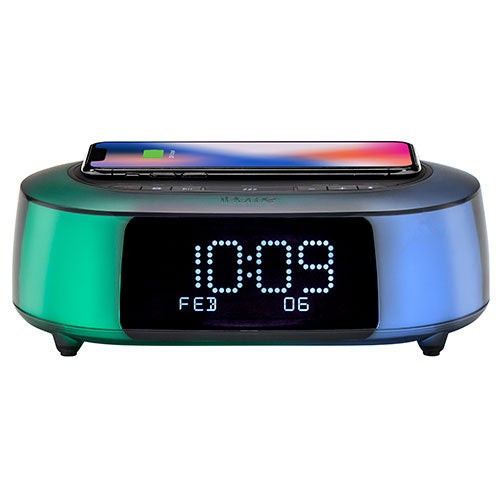 Timeboost Glow Color Changing BT Alarm Clock w/ Qi Charging