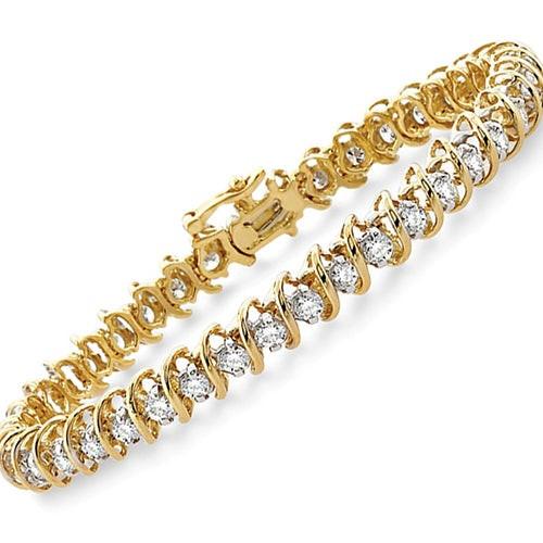 Round S Cut Link 1.50twt Diamond & Yellow Gold Bracelet