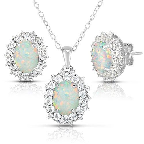 Oval Opal & White Topaz Earrings & Necklace Set