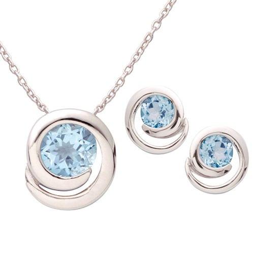 Silver Swirl Blue Topaz Earring & Necklace Set