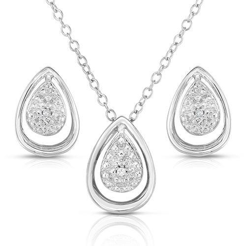 Sterling Silver and .075twt Diamond Teardrop Earrings & Necklace Set
