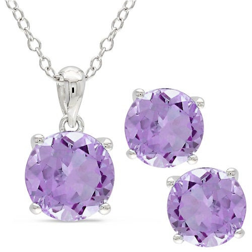 Purple Amethyst Earring And Necklace Set