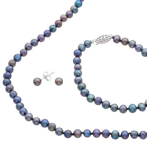 Black Freshwater Pearl Bracelet Necklace & Earrings