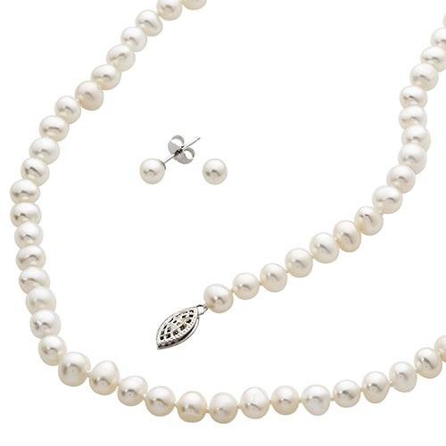 White Freshwater Pearl Bracelet Necklace & Earrings