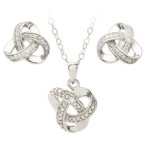 Diamond Love Knot Earring & Necklace Set