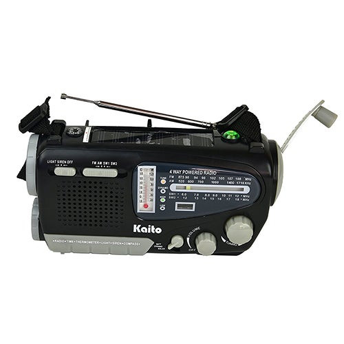 4-Way Powered Solar Crank Radio w/ Light Siren Compass