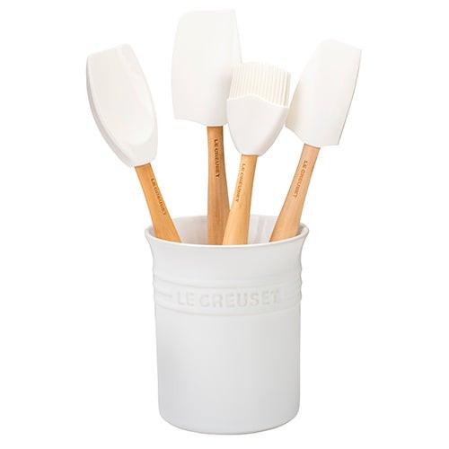 5pc Craft Series Silicone Utensil Set w/ Crock White