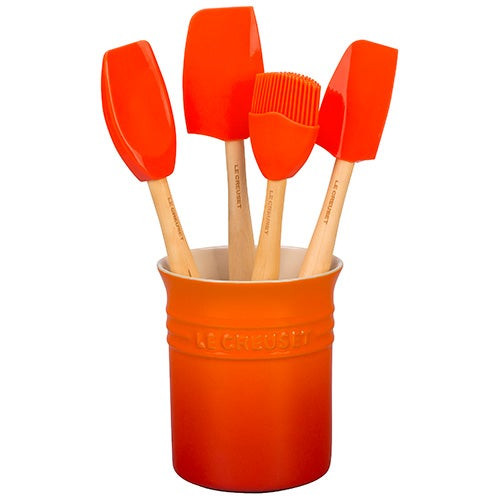 5pc Craft Series Silicone Utensil Set w/ Crock Flame