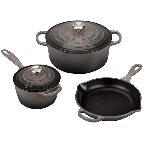 5pc Signature Cast Iron Cookware Set Oyster