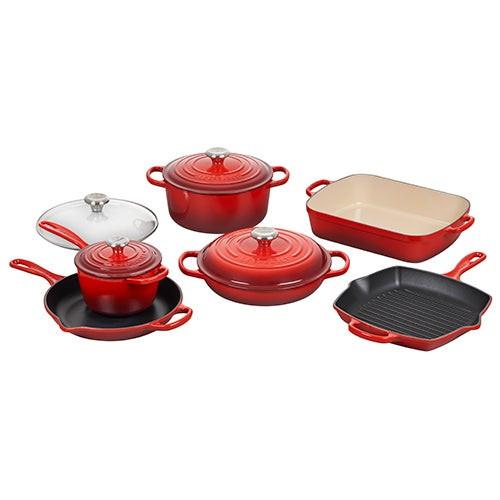 10pc Signature Cast Iron Cookware Set Cerise