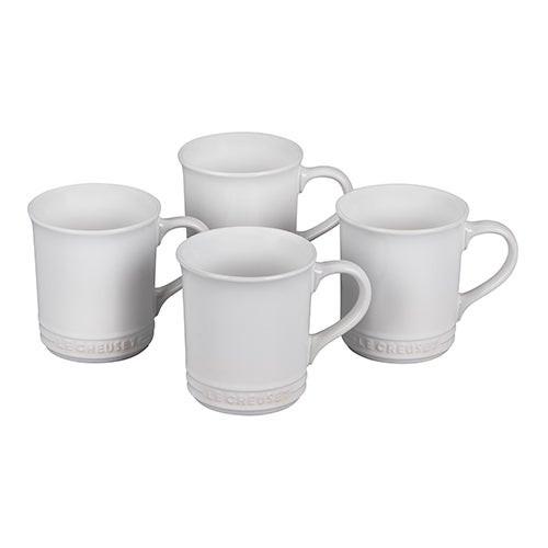 Set of 4 Stoneware Mugs White