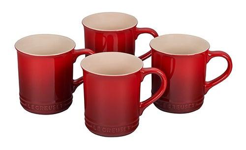 Set of 4 Stoneware Mugs Cerise