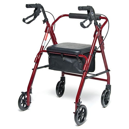 Walkabout Basic Four Wheel Rollator Red