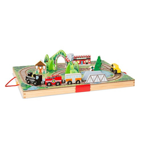 Take-Along Railroad Wooden Toy Set Ages 3+ Years