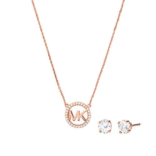 Sterling Rose Gold Necklace & Earrings Gift Set