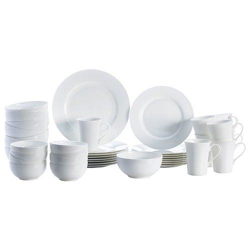 Delray White 40pc Bone China Dinnerware Set
