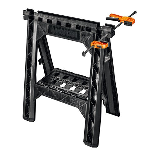 Set of 2 Clamping Sawhorses w/ 2 Bar Clamps