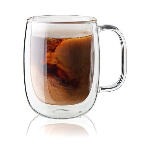 Sorrento Plus 2pc Double Wall Glass Coffee Mug Set