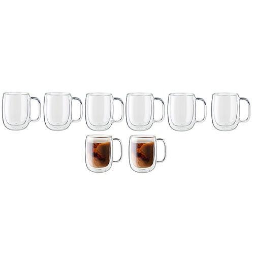 Sorrento 8pc Double Wall Glass Coffee Mug Set