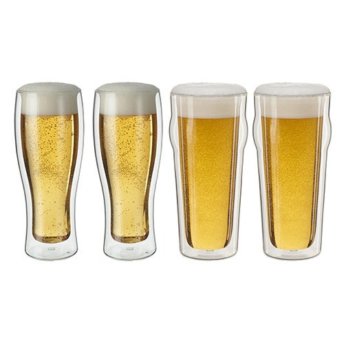 Sorrento 4pc Double Wall Beer Glass Set