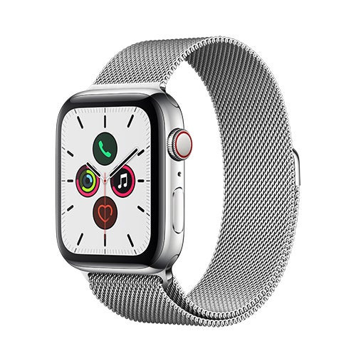 S5 Watch GPS + Cell 40mm Silver SS Case w/ Silver Milanese Loop