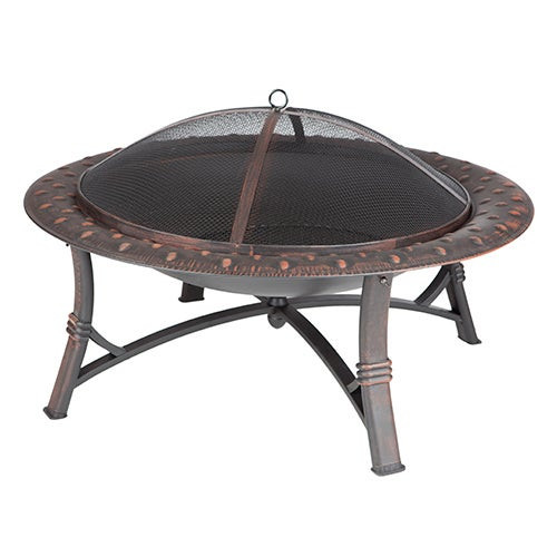 Roman Round Steel Fire Pit Brushed Bronze