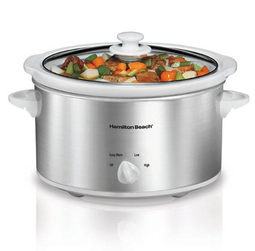 4qt Slow Cooker White/Silver
